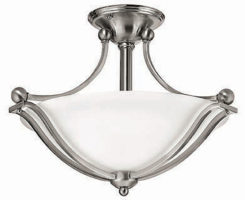 Hinkley Bolla Art Deco Style Semi Flush 2 Light Fitting Satin Nickel