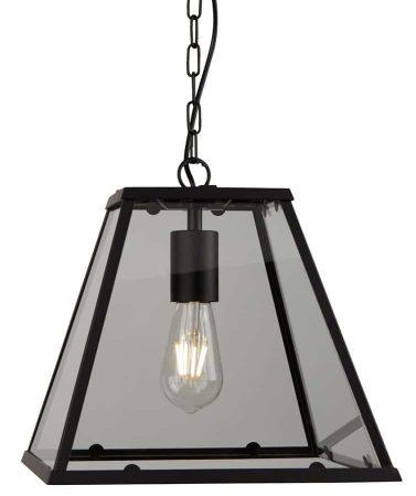 Voyager Large 1 Light Tapered Hanging Lantern Matt Black