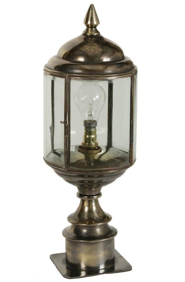 Wentworth Art Deco Style Short Outdoor Pillar Lantern Solid Brass
