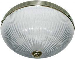 Windsor Art Deco Antique Brass 2 Lamp Ribbed Glass Flush Light