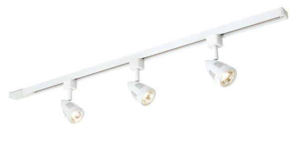 Bullett 3 light ceiling spot light track kit in gloss white