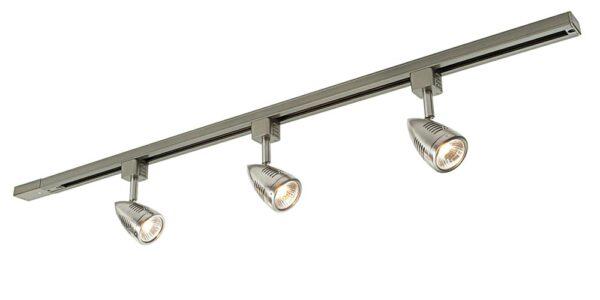 Bullett 3 light ceiling spot light track kit in satin chrome