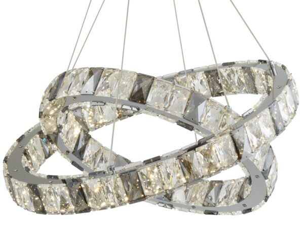 Circle 2 ring LED ceiling pendant chrome clear and smoked crystal