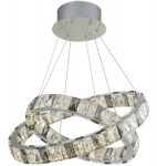 Optica 2 Ring LED Ceiling Pendant Chrome Clear / Smoked Crystal