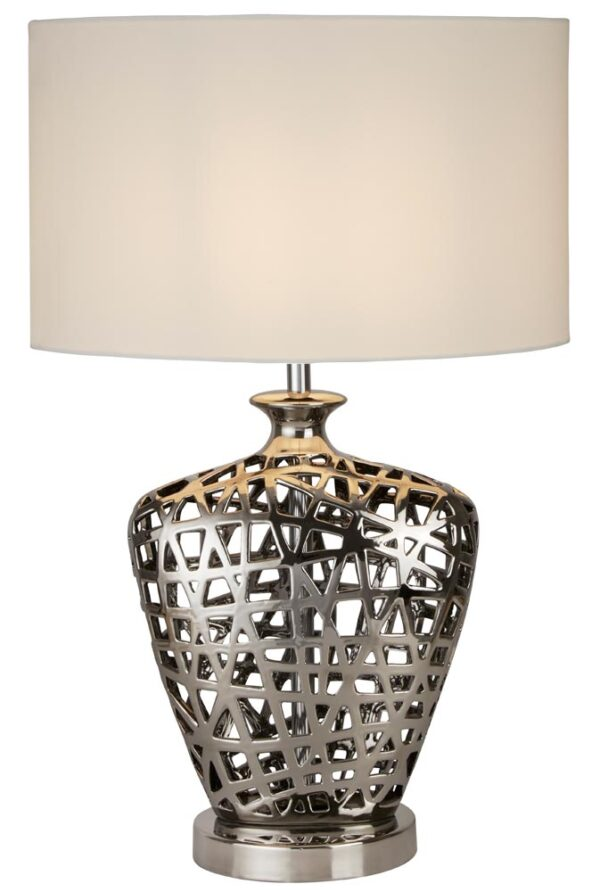 Network 1 Light Large Table Lamp Chrome Cut Out Base White Shade