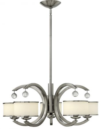 Hinkley Monaco Designer 5 Light Satin Nickel Art Deco Chandelier