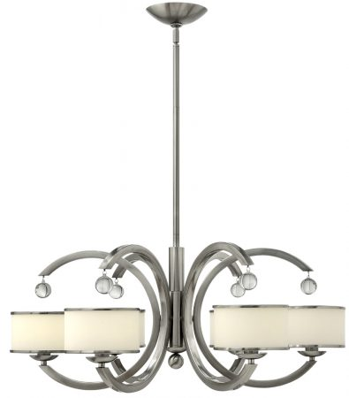 Hinkley Monaco Designer 6 Light Satin Nickel Art Deco Chandelier