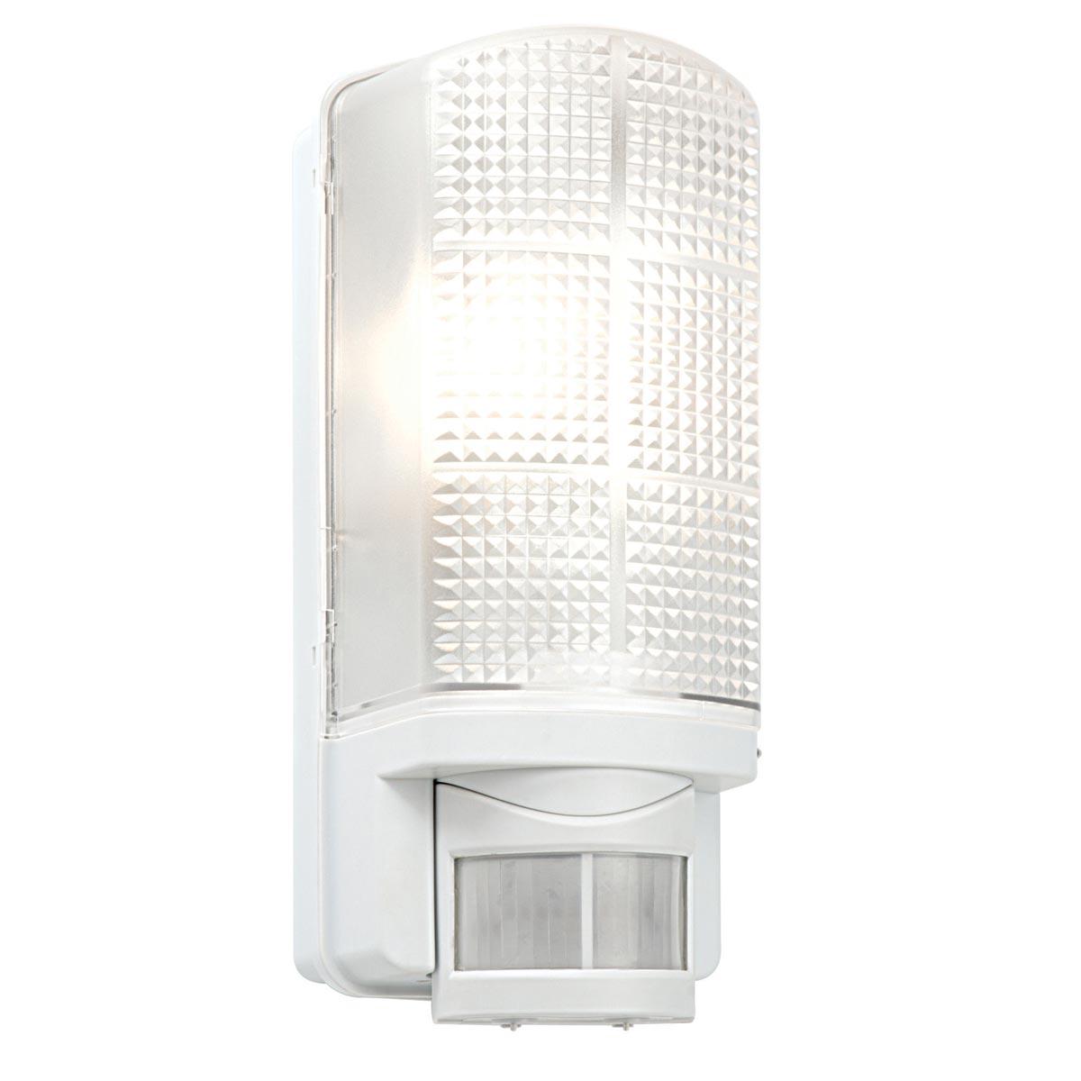 motion rust proof outdoor sensor light bulkhead in white 48740. Black Bedroom Furniture Sets. Home Design Ideas