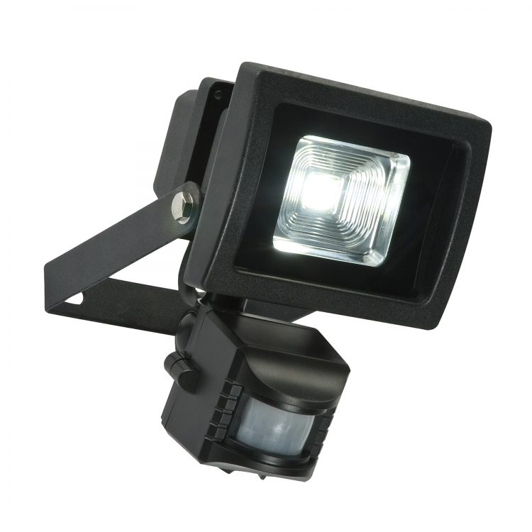 Olea 11w Outdoor LED Security Light With PIR In Textured Black 48742