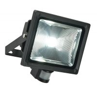 Olea 32w Outdoor LED Security Light With PIR In Textured Black