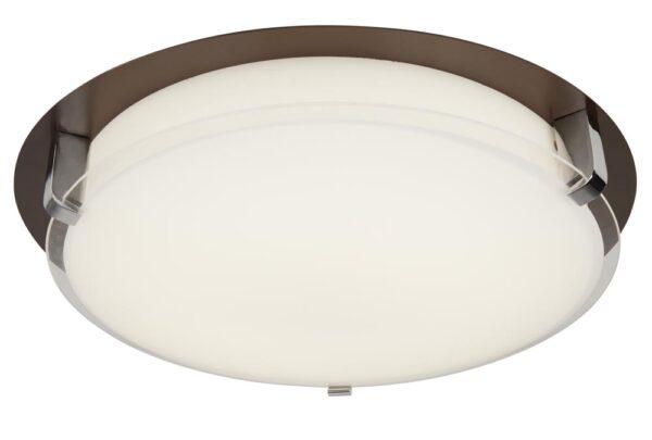 Edinburgh LED flush mount ceiling light in brown and chrome