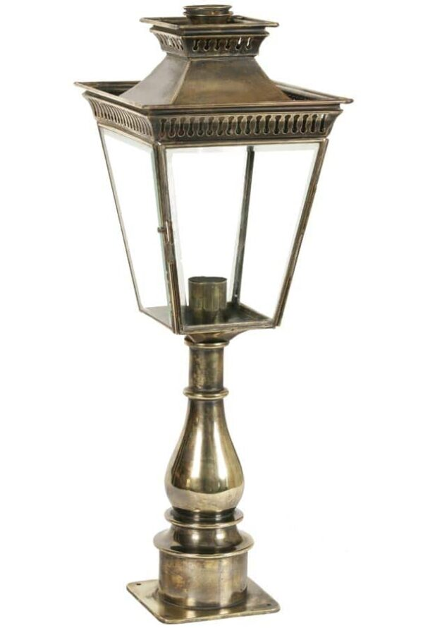 Pagoda Georgian period style tall outdoor pillar lantern solid brass