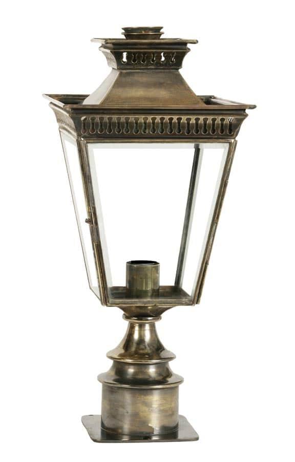 Pagoda Georgian period style short outdoor pillar lantern solid brass