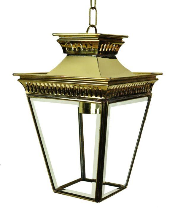 Pagoda Georgian small hanging porch lantern polished brass