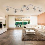 Palmer Satin Silver 6 Light Hinged Ceiling Spotlight Bar Chrome Trim