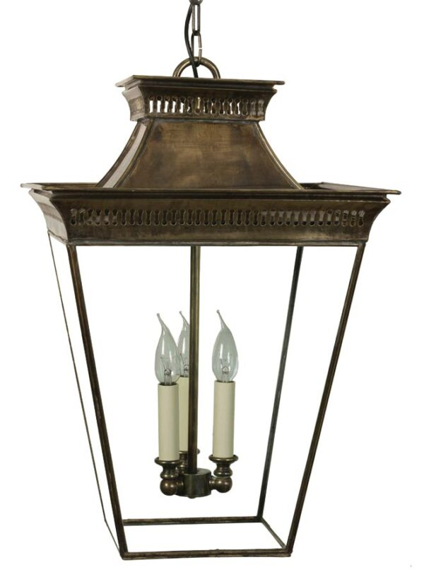 Pagoda Georgian 3 light large hanging porch chain lantern solid brass