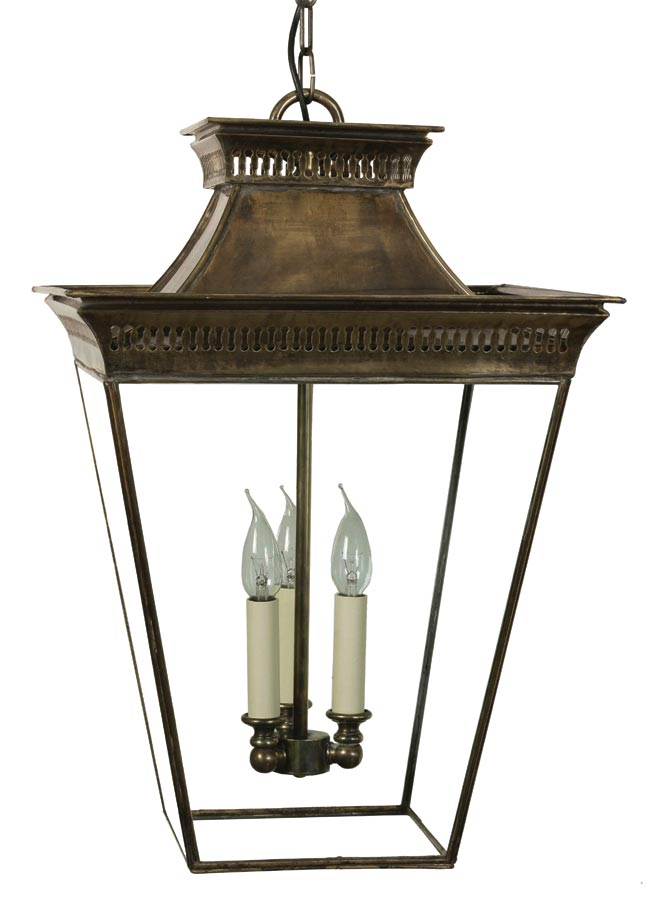 Pagoda Georgian 3 light large hanging porch chain lantern solid brass