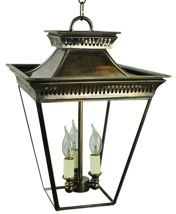 Pagoda Georgian 3 Light Medium Porch Chain Lantern Solid Brass
