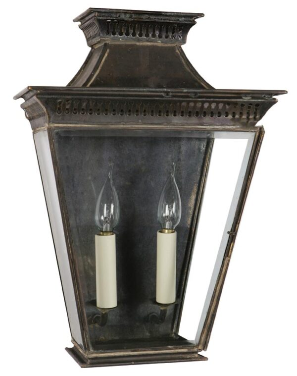 Pagoda Georgian 2 light large outdoor wall passage lantern solid brass