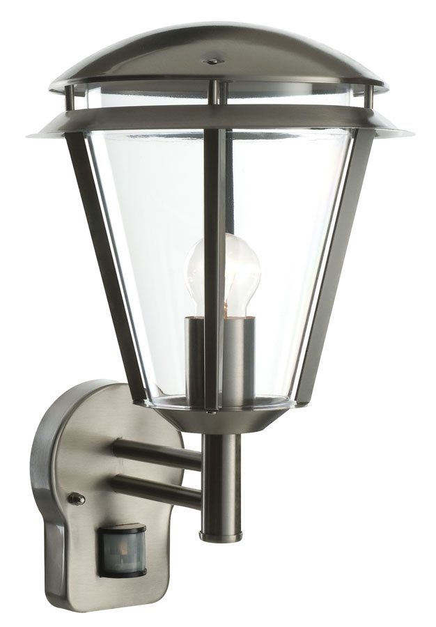 Inova Modern Outdoor PIR Sensor Wall Lantern Stainless Steel 49945