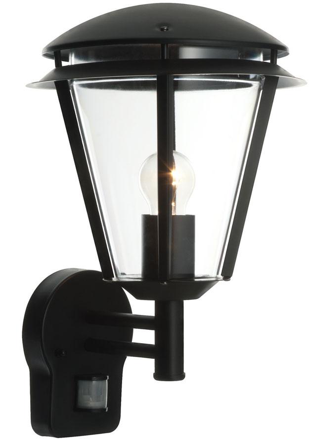 Inova Modern Black Outdoor PIR Motion Sensor Wall Lantern 49946