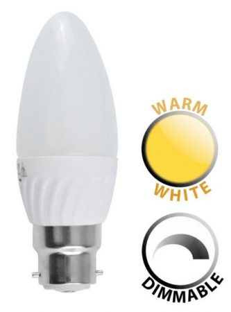 4W Dimmable LED BC Frosted Candle Bulb Warm White 320 Lumen