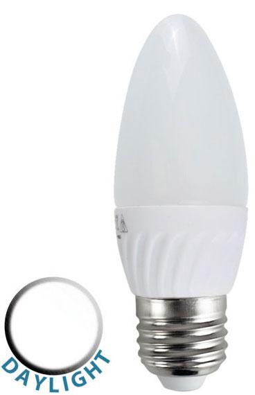 Led Daylight Bulb: 4W LED ES/E27 Frosted Candle Lamp Bulb Daylight White 400