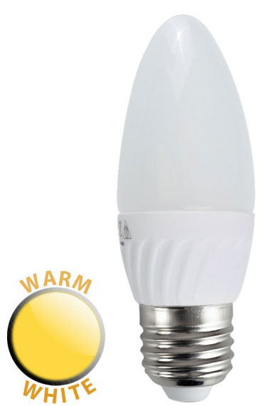 4W LED E27 Frosted Candle Lamp Bulb Warm White 400 Lumen