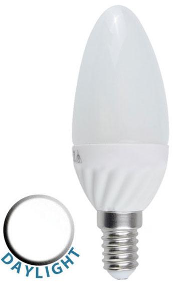 Led Daylight Bulb: 4W LED SES/E14 Frosted Candle Lamp Bulb Daylight White 400