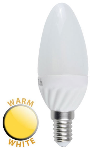 4W LED E14 Frosted Candle Lamp Bulb Warm White 400 Lumen