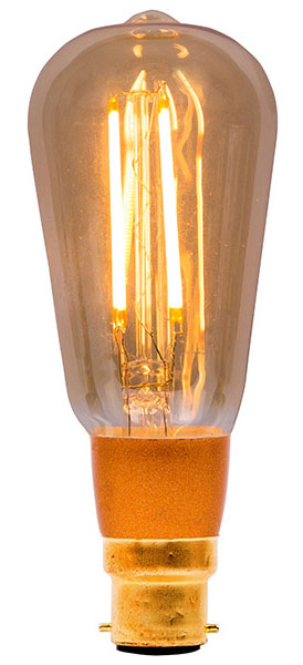 Amber 4w LED Dimmable Vintage Squirrel Cage Bulb BC 300lm