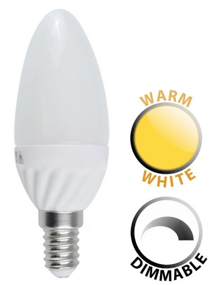 5W Dimmable LED E14 Frosted Candle Bulb Warm White 400 Lumen