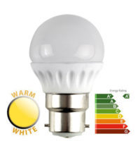 4W LED BC/B22 Frosted Golf Ball Bulb 2700k Warm White 400 Lumen