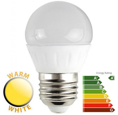 4W LED ES/E27 Frosted Golf Ball Bulb 2700k Warm White 400 Lumen