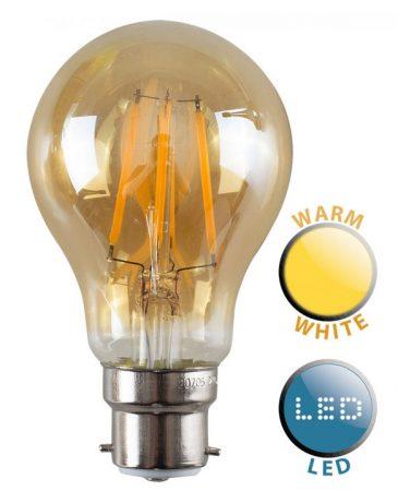 BC/B22 Filament 4w LED Amber GLS Light Bulb Warm White 440 Lumen
