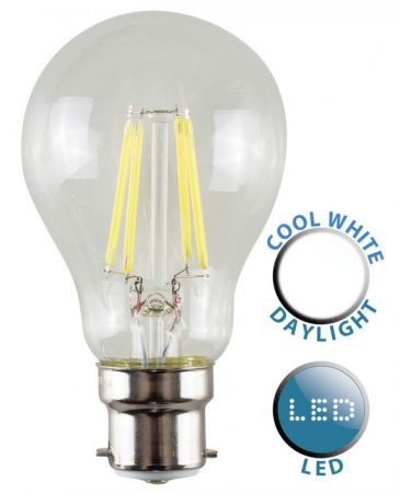 BC/B22 Filament 4w LED GLS Light Bulb Daylight White 440 Lumen