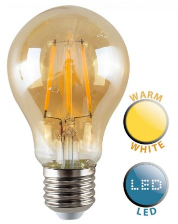 ES/E27 Filament 4w LED Amber GLS Light Bulb Warm White 440 Lumen