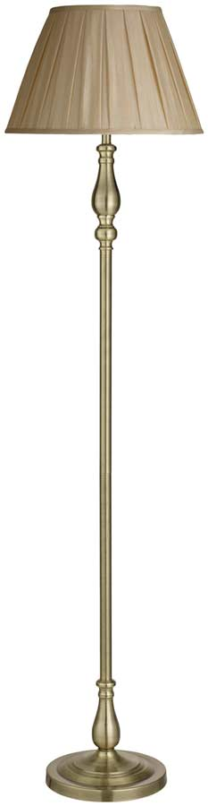 Traditional Antique Brass Floor Standard Lamp With Mink Shade