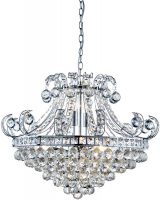 Bloomsbury Contemporary Chrome 6 Light Crystal Chandelier