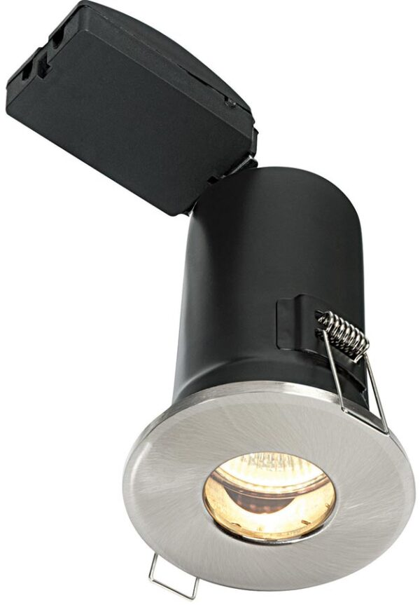Shield Plus Satin Nickel Fire Rated IP65 Bathroom Shower Light