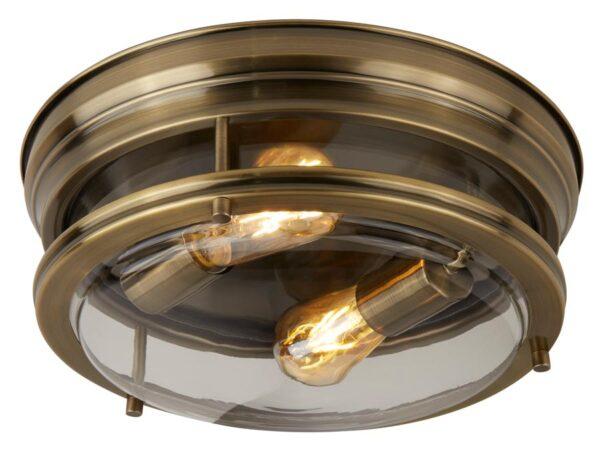 Edinburgh flush bathroom ceiling light antique brass clear glass