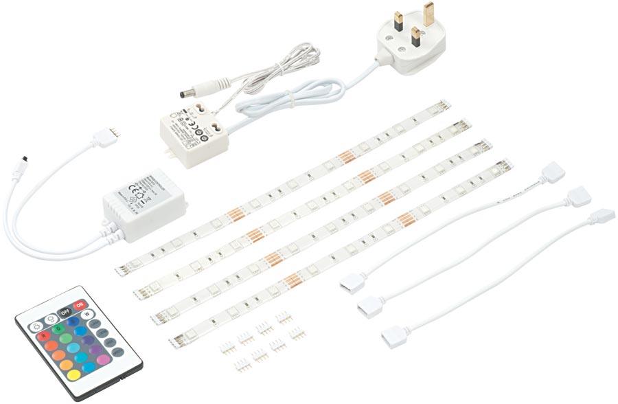 flexline colour change led self adhesive strip lights kit. Black Bedroom Furniture Sets. Home Design Ideas