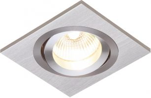 Tetra Single Brushed Silver Tilt GU10 Recessed Boxed Downlight