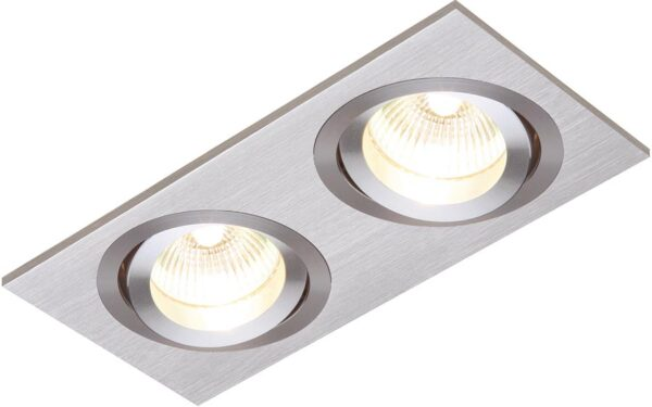 Tetra Twin Brushed Silver Tilt GU10 Recessed Boxed Downlight