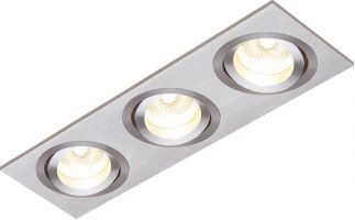 Tetra Triple Brushed Silver Tilt GU10 Recessed Boxed Downlight