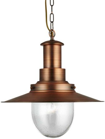 Fisherman Large Copper Finish Pendant Lantern With Seeded Glass