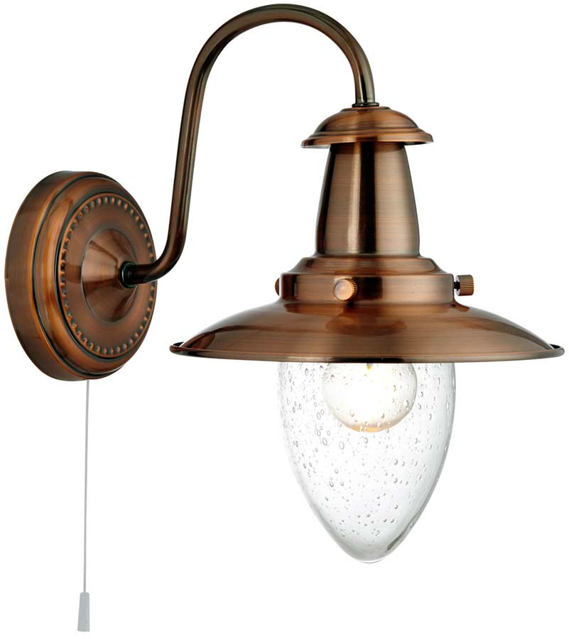 Fisherman Wall Light Seeded Glass Shade Pull Switch Copper