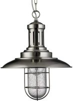 Fisherman Nautical Caged Shade Ceiling Lantern Satin Silver