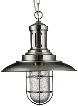 Fisherman Nautical Caged Shade Ceiling Lantern Satin Silver