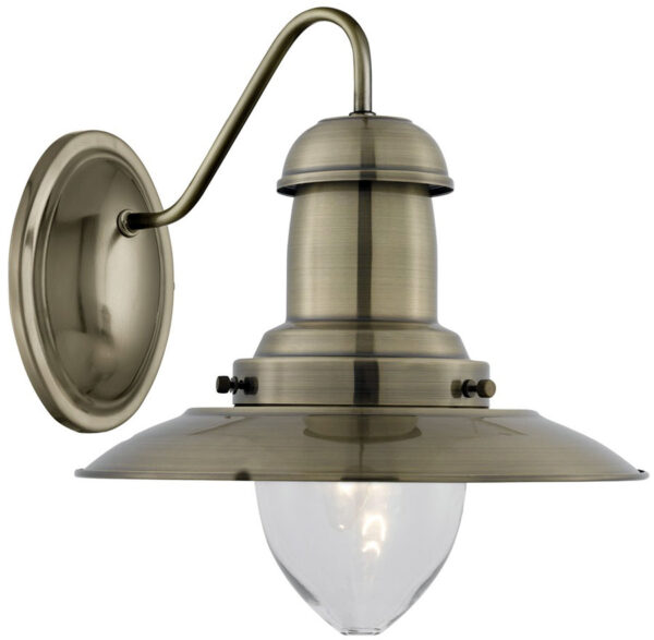 Fisherman Switched Wall Light Clear Glass Antique Brass